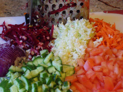 Chop vegetables for kachumar salad